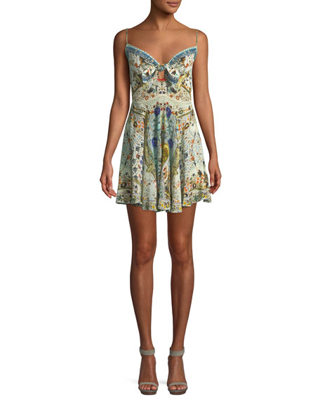 Camilla Embellished Tie-Front Sleeveless Mini Dress