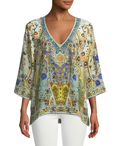 V-Neck Embellished Oversized Blouse