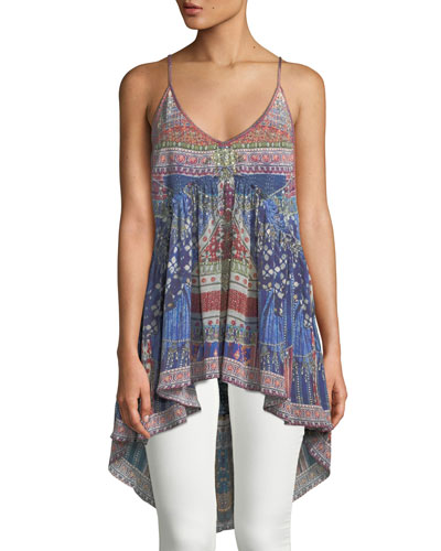 Printed Silk High-Low Tank Top