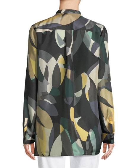 Brayden Ornamental Mosaic Silk Blouse