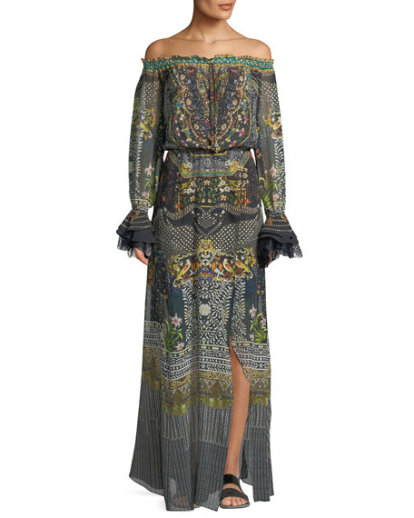 Printed Off-the-Shoulder Maxi Dress