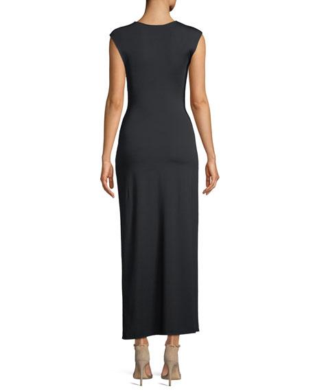 Knot-Front Sleeveless Maxi Dress