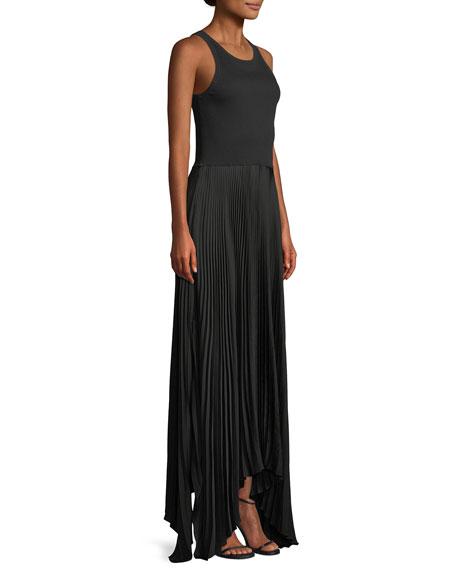 Vinessi Mixed Rib-Knit Pleated Skirt Maxi Dress
