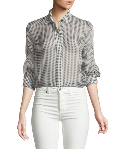Gingham Essential Silk Button-Down Top