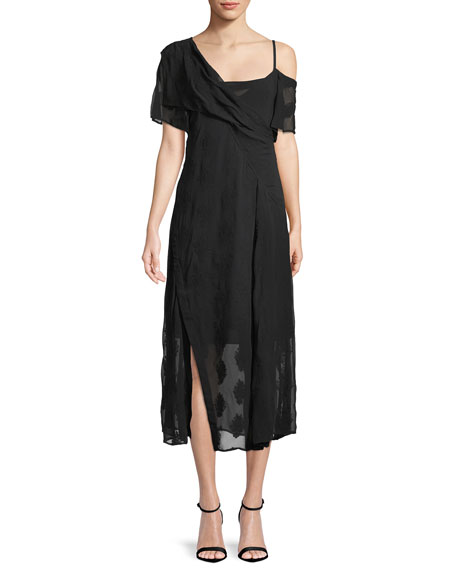 Theory Coastal Silk-Blend Asymmetric Dress