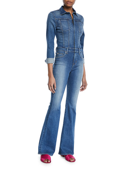 Hudson Holly Rambler Long-Sleeve Flare Denim Coverall Jumpsuit