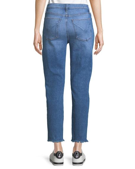 Zoeey High-Rise Pintuck Straight-Leg Jeans