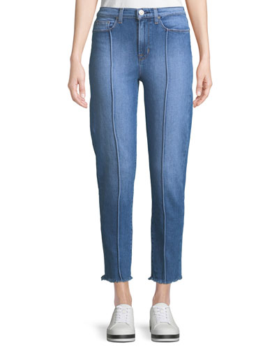 Zoeey High-Rise Pintuck Straight-Leg Jeans