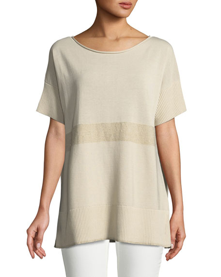 Lafayette 148 New York Short-Sleeve Sequin-Striped Sweater