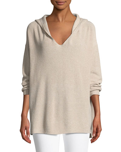 Shimmer Ribbed Hoodie Sweater
