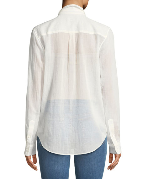 Essential Summer Cotton Long-Sleeve Button-Down Top