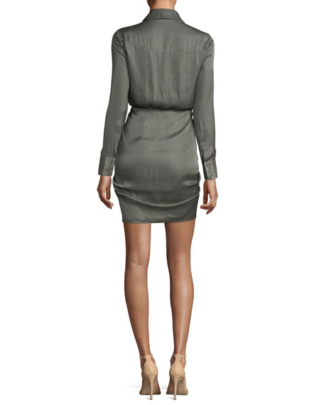 Snake In The Grass Ruched Button-Down Satin Dress