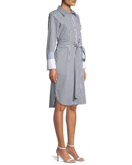 Fabiola Saxony Stripe Poplin Shirtdress