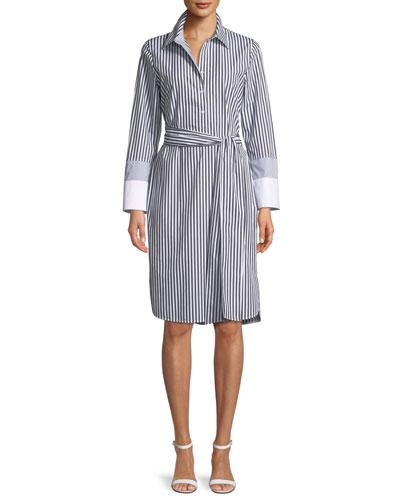 Fabiola Saxony Stripe Poplin Shirtdress