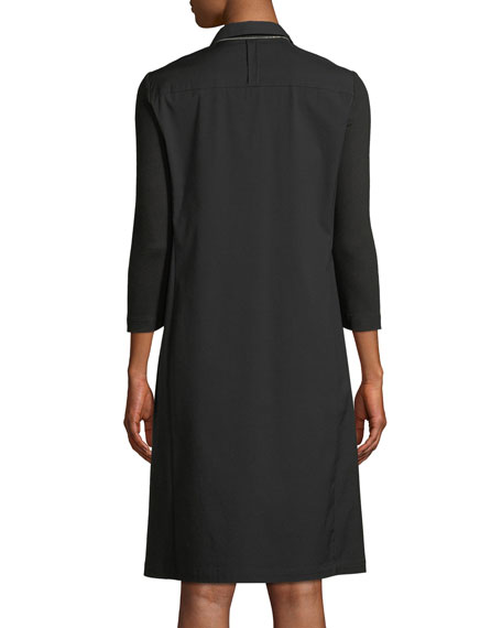 Zac Classic Stretch-Poplin Dress with Jersey Sleeves