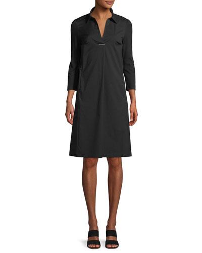 Zac Classic Stretch-Poplin Dress with Jersey Sleeves