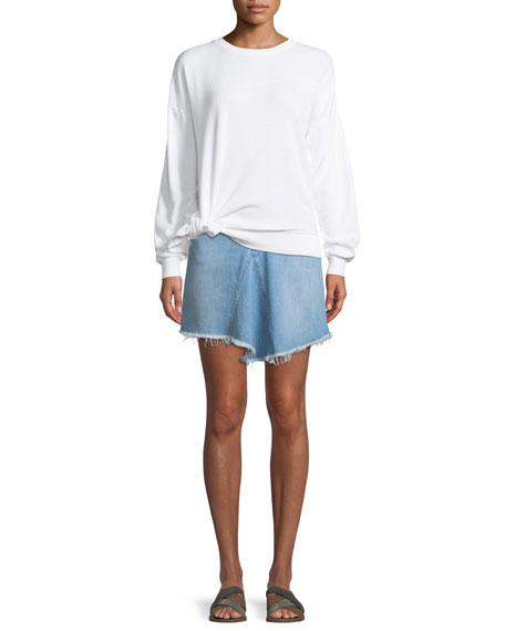 Marilyn Levy A-Line Denim Skirt w/ Asymmetric Frayed Hem