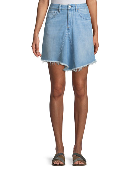 Acynetic Marilyn Levy A-Line Denim Skirt w/ Asymmetric