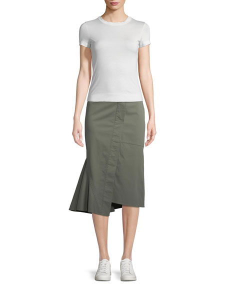Reconstructed Midi Casual Twill Skirt