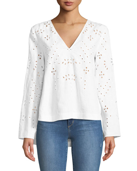 Relaxed Eyelet Linen V-Neck Top