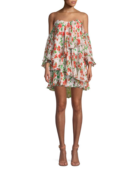 Caroline Constas Cleopatra Off-the-Shoulder Floral Mini Dress