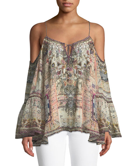 Drop-Shoulder Mixed-Print Silk Blouse