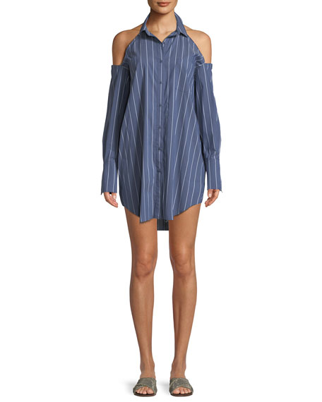 Kendall + Kylie Striped Cold Shoulder Tunic Mini