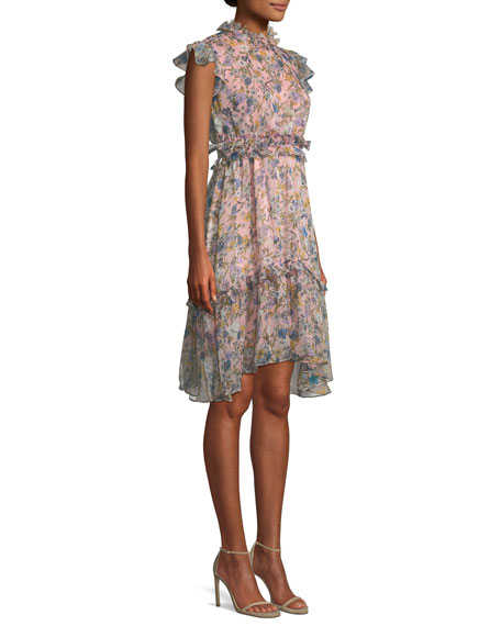 Floral-Print Ruffle Knee-Length Dress