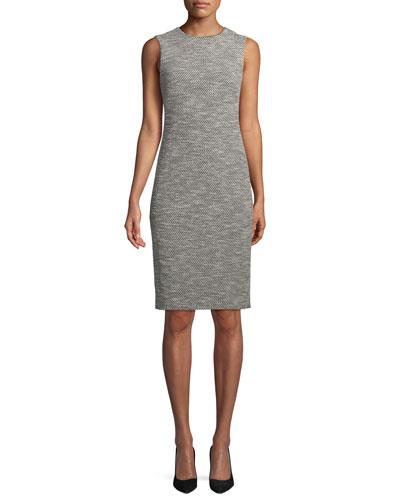 Eano Benton Sleeveless Tweed Sheath Dress