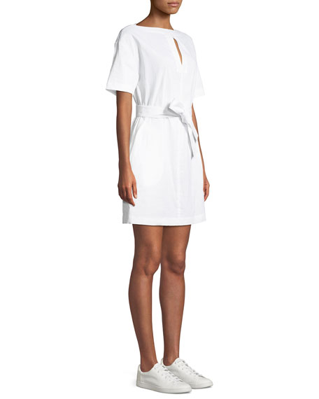 Belted Crunch Wash Shift Dress w/ Self-Tie Waist