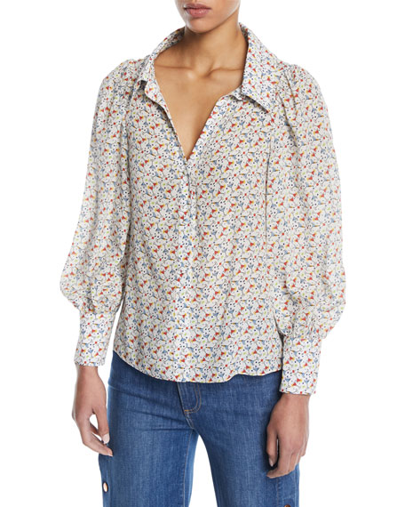 Alice + Olivia Salome Martinis Open-Neck Long-Sleeve Blouse