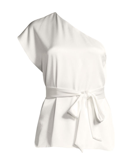 Lavine One-Sleeve Tie-Waist Top