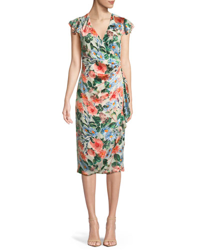 Garnet Floral-Print Silk Wrap Dress