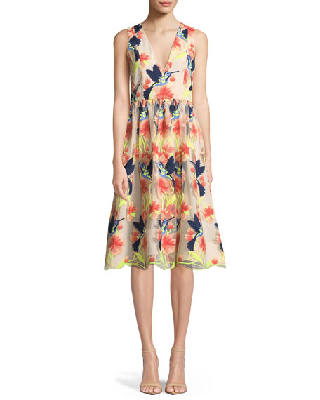 Alice + Olivia Becca Hummingbirds Sleeveless V-Neck Tea-Length