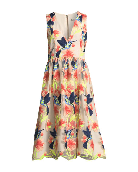 Becca Hummingbirds Sleeveless V Neck Tea Length Pouf Dress by Alice + Olivia