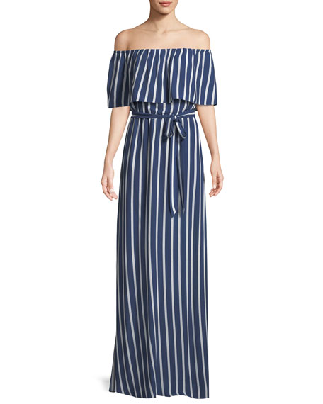 Grazi Off-the-Shoulder Striped Maxi Dress