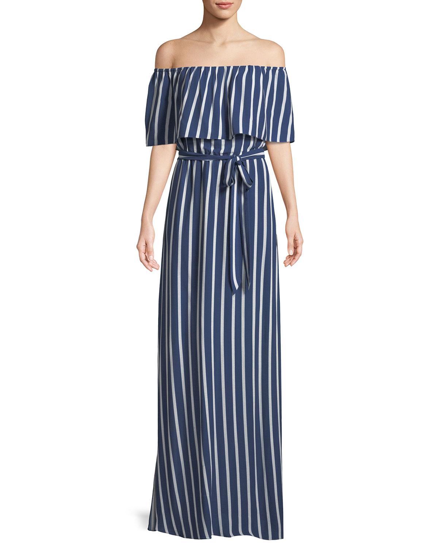 a0ef6a19d92d Alice + Olivia Grazi Off-the-Shoulder Striped Maxi Dress