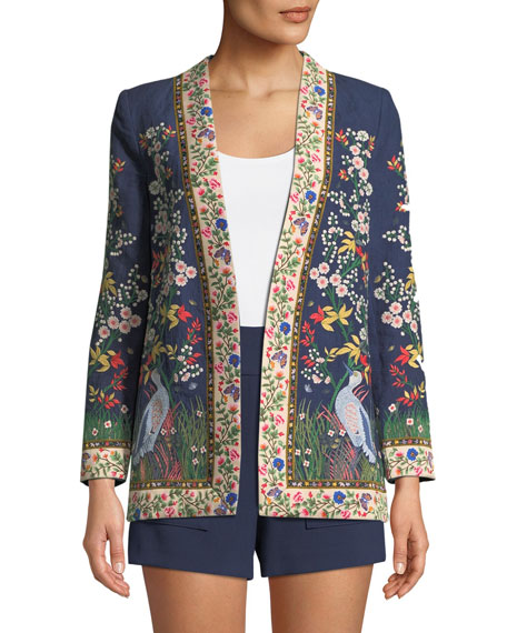 Alice + Olivia Jenice Floral-Embroidered Long Linen Blazer