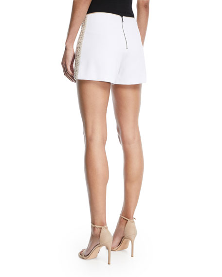 Sherri Embellished Back-Zip Shorts