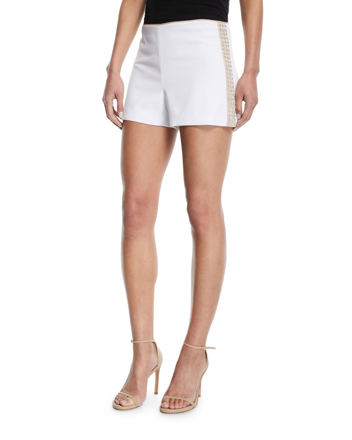 38c8d9a831c3 Alice + Olivia Sherri Embellished Back-Zip Shorts