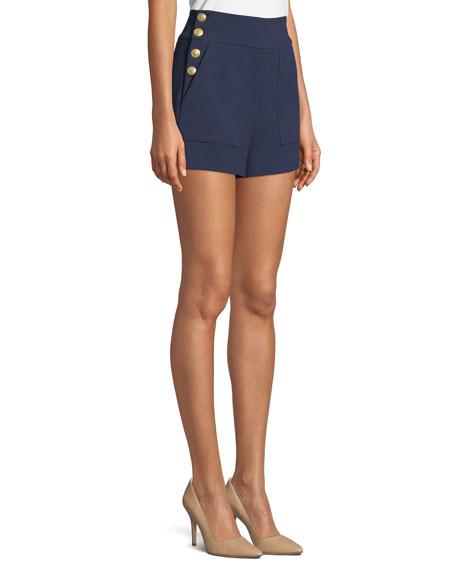 Donald High-Waist Side-Button Woven Shorts