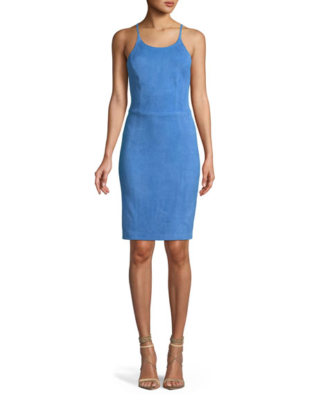 Alice + Olivia Singer Suede Cross-Back Fitted Cocktail