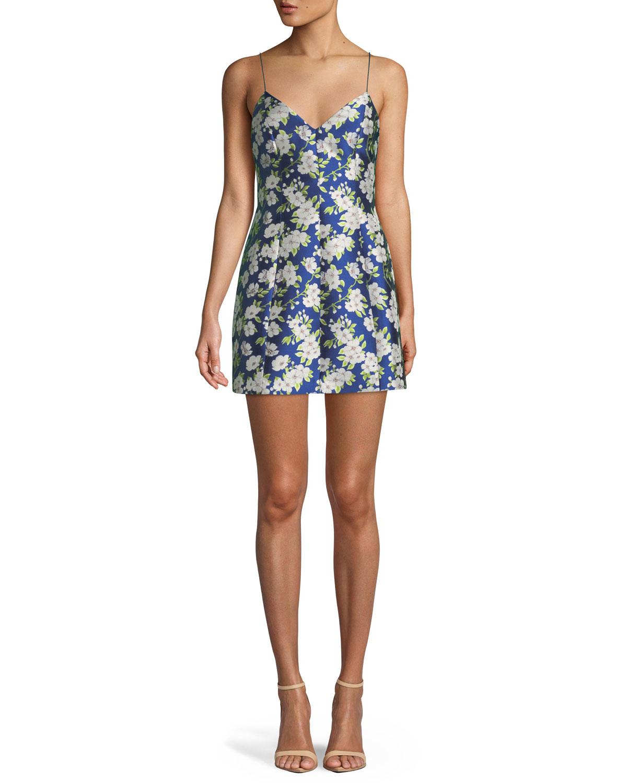 8e07b2fddd96 Alice + Olivia Tayla Floral-Print Lantern Mini Dress