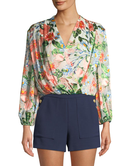 Alice + Olivia Trista Cross-Front Floral-Print Blouson Top