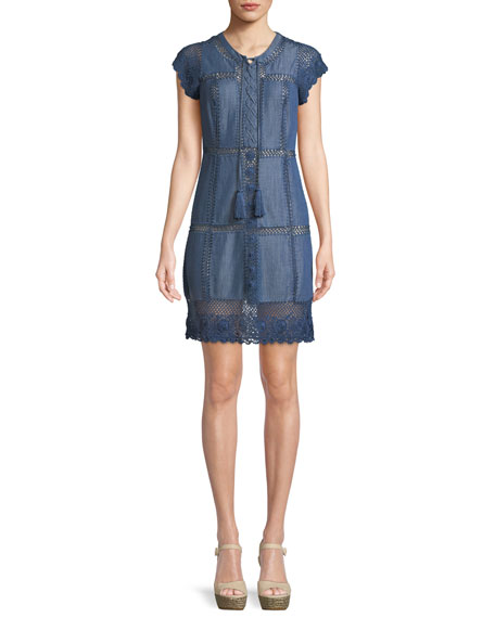 Alice + Olivia Tona Patchwork Chambray Lace-Up Dress
