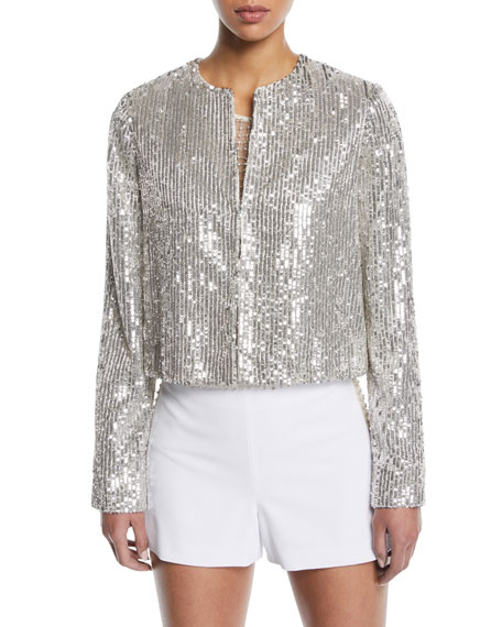 Alice + Olivia Kidman Sequin Embellished Jacket