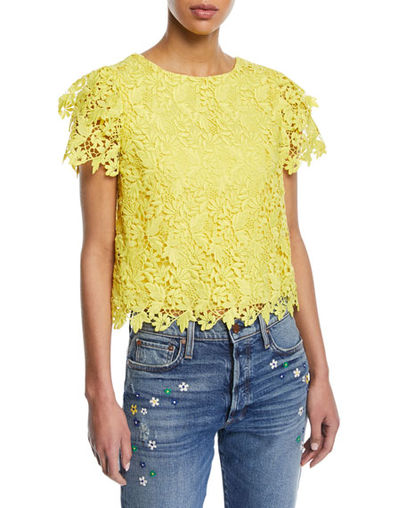 Alice + Olivia Franca Floral Cutout Short-Sleeve Top