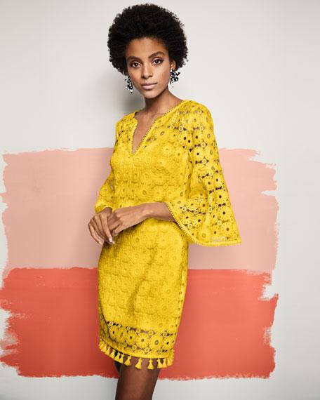 Loomis Lace Bell-Sleeve Tassel Dress