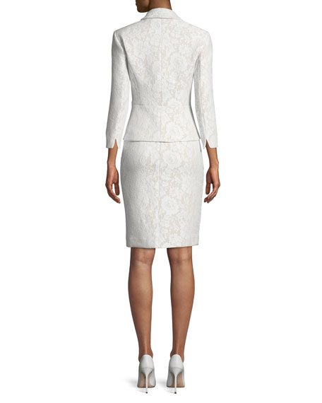 Bonded Lace Peplum Skirt-Suit