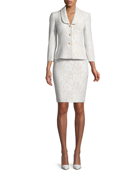 Albert Nipon Bonded Lace Peplum Skirt-Suit